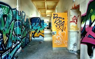 Attractive graffiti on open doors