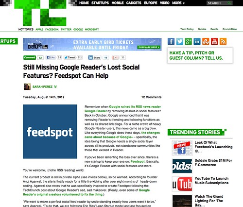 Still Missing Google Reader's Lost Social Features? Feedspot Can Help | TechCrunch