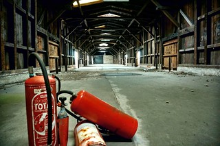 Abandoned building with fire extinguisher