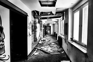 Abandoned hospital dangerous falling masonry