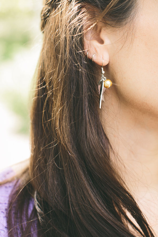 Snitch earrings at Harry Potter Themed Weddings