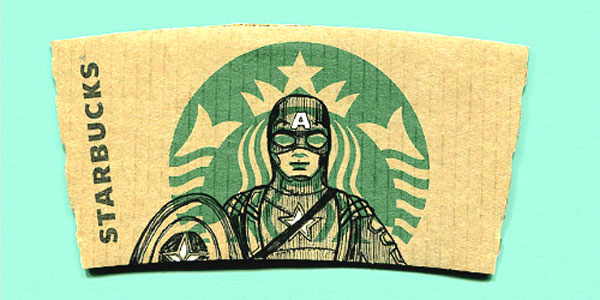 Captian America artistic coffee