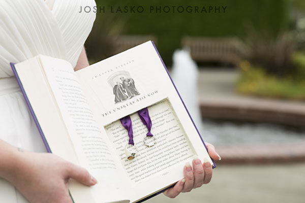 Wedding rings in the book at Harry Potter Themed Weddings
