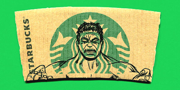 The incredible Hulk on Star Bucks Coffee