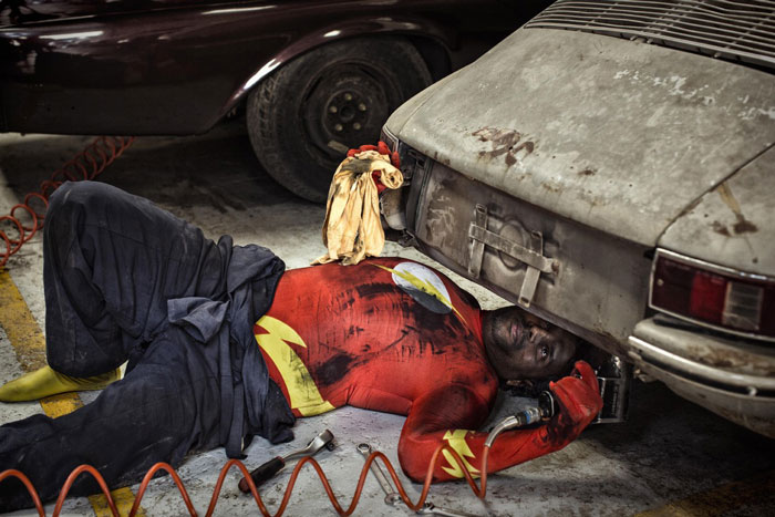 Superheroes in Their Old Age (Flash Repairing his car)