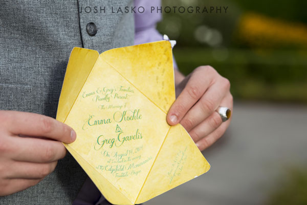 Customized invite at Harry Potter Themed Weddings