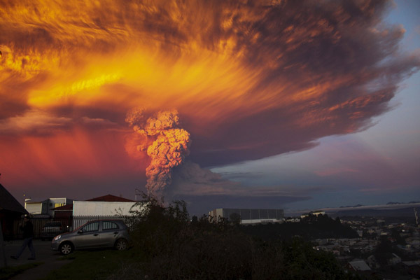 Chile's Volcano Eruption effect seen from a distant city