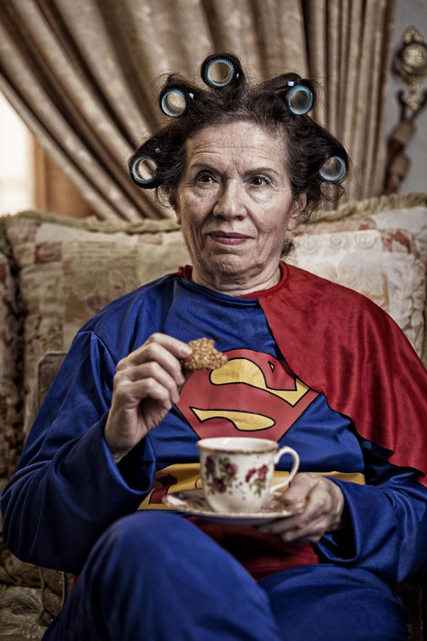 Superheroes in Their Old Age (Superwoman Drinking Tea)
