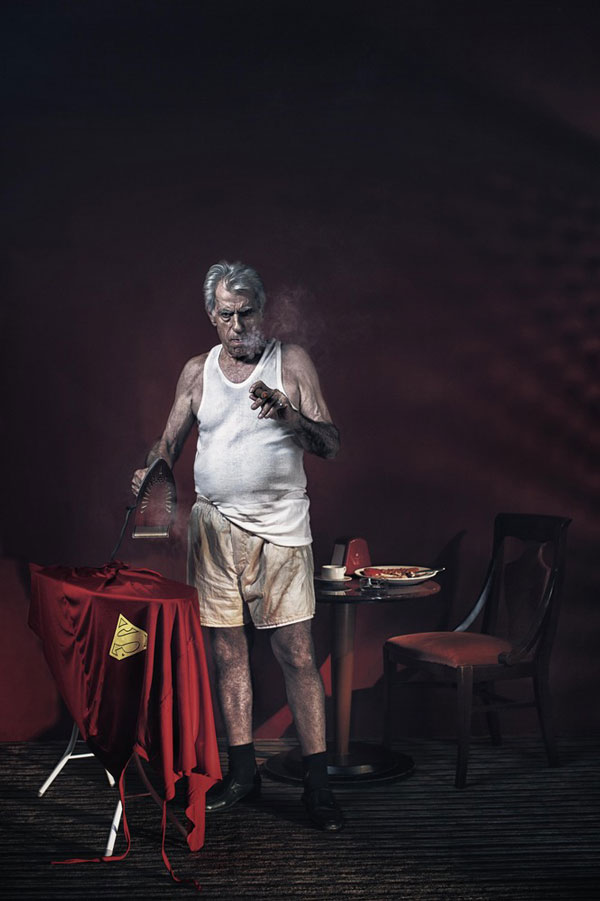 Superheroes in Their Old Age (Superman Ironing his clothes)