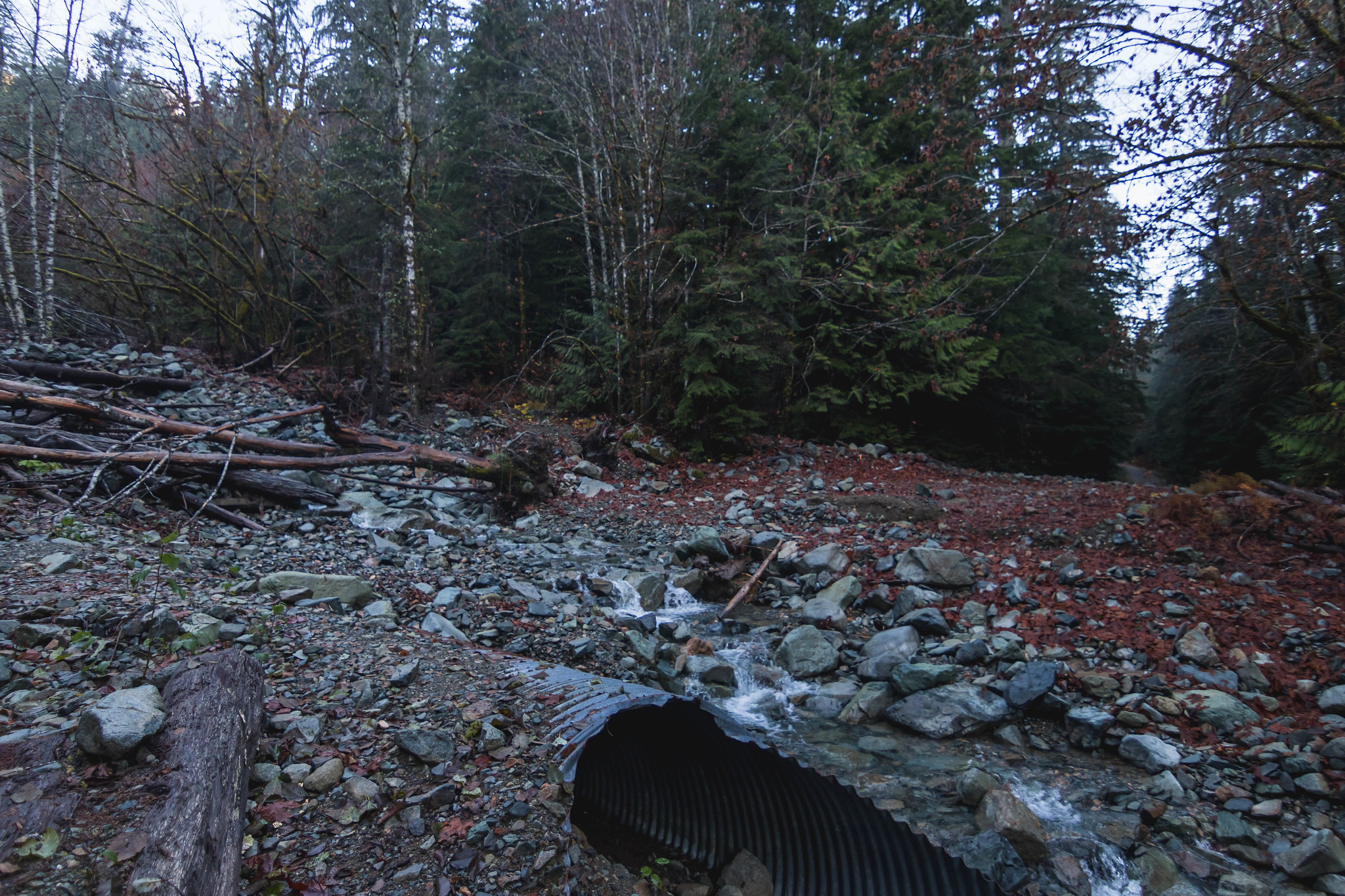 One of three sections of washout