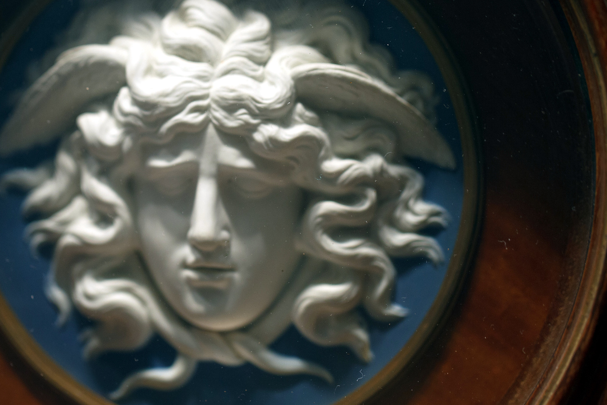 c. 1785 Detail of Medusa, Josiah Wedgwood at the Art Institute of Chicago. Credit Anne Peterson, flickr