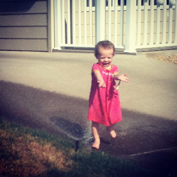 April 25. She's never seen a sprinkler before today.