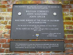 Photo of William Coberley, John Maundrel, and John Spicer black plaque