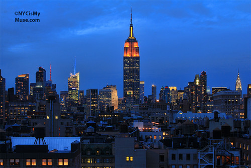 Empire State Building in Orange & Yellow for the 25th Anniversary of the James Beard Foundation and the 22nd Annual James Beard Awards