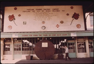 Union Station sign at the Portland, Oregon, terminal welcomes travelers to the City of Roses, July 1974