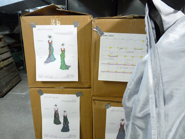 Sketches and materials for the wearable botanical sculptures Dextras is creating for BBG's Spring Gala and After Party. Photo by April Greene.