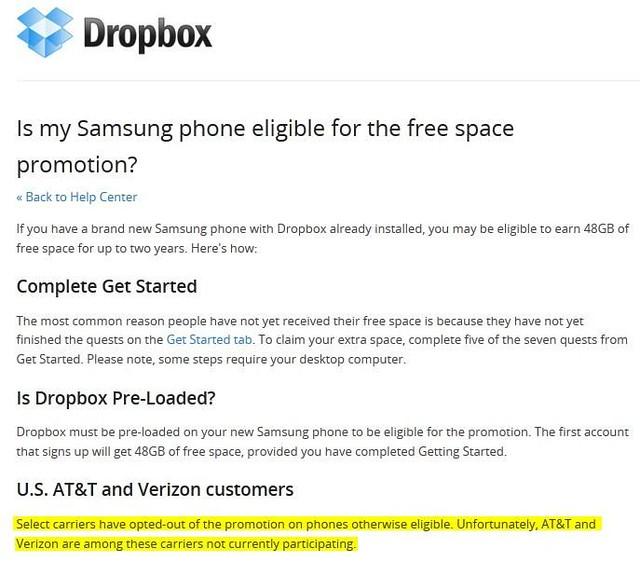 dropbox No 50GB storage