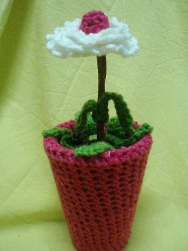 Vaso com aplicação em  lã