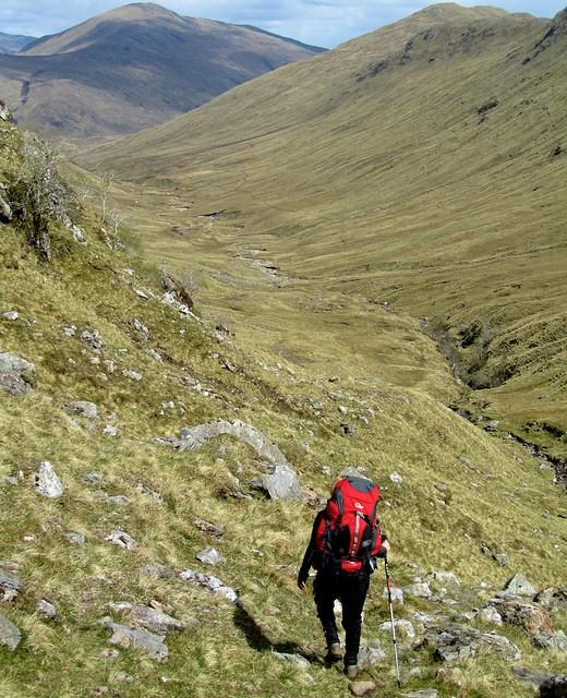 Descending into Gleann Cuirnean - Cape Wrath Trail