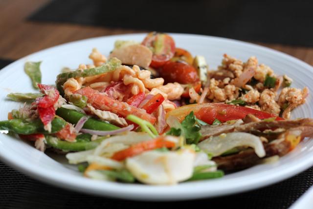 Don't miss the grilled pork neck salad!