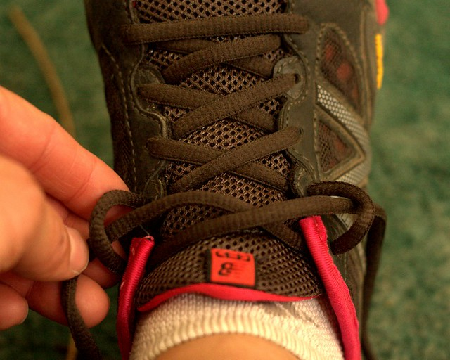 lacing a running shoe