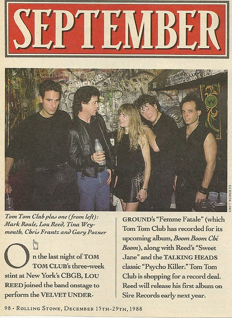 12-15-88 Rolling Stone Magazine (Tom Tom Club and Lou Reed at CBGB)