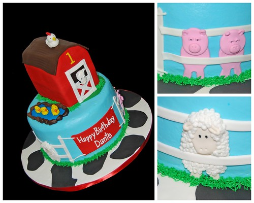 1st birthday farm themed cake - cow, sheet, pigs, ducks