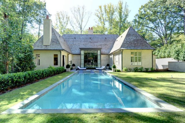 Things That Inspire  On the market  a Bobby McAlpine house in AtlantaA view from the back of the property to the house  The left wing is the outdoor room  the right wing is the master suite bathroom