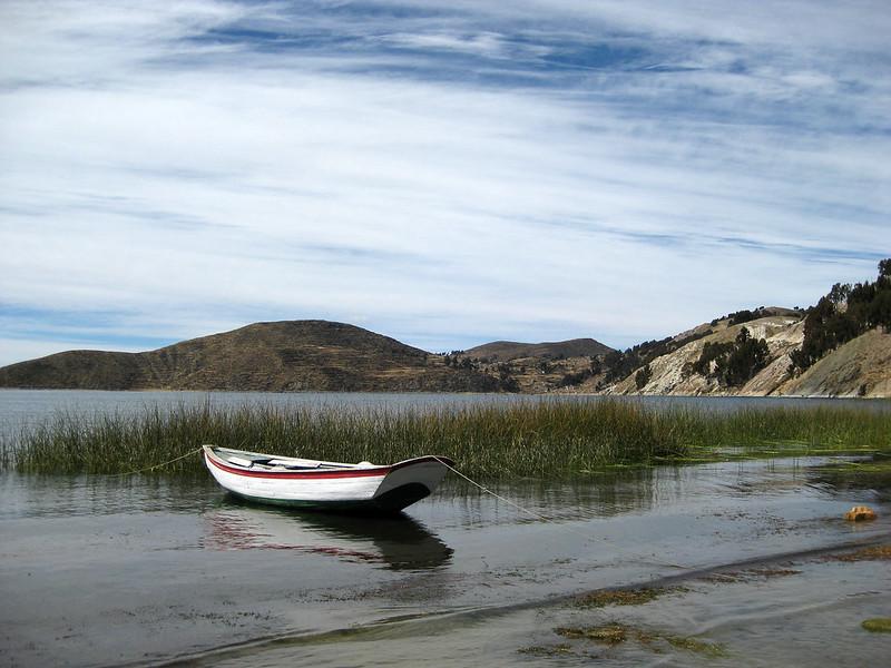 A boat on Lake Titicaca - Isla Del Sol - Bolivia