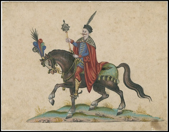 Prince or similar with sceptre on horse decorated with feathers