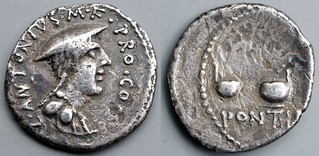 484/1 Denarius C ANTONIVS M.F. PRO·COS. PONTIFEX  Genius of Macedonia, two culluli and axe, extremely rare Caius Antonius type, brother of Mark Antony, 43BC #1238-34, 17mm 3g40