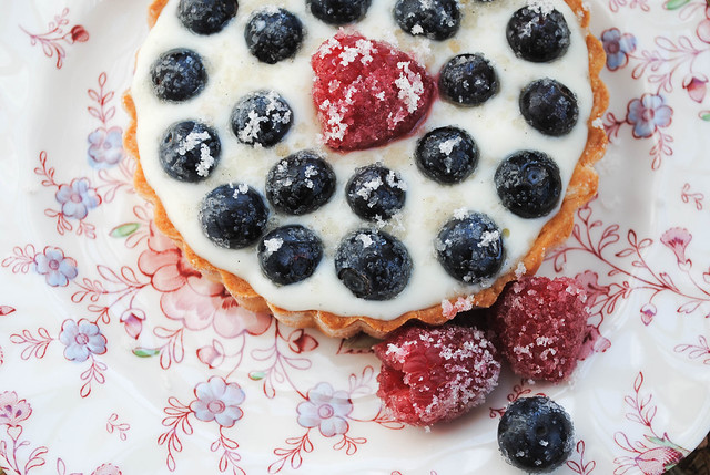 Rosewater Tartlet with Vanilla Sugared Berries