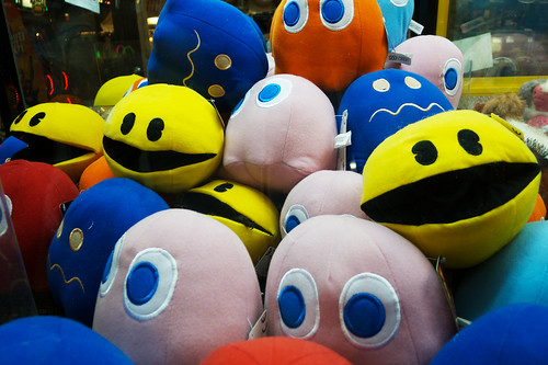 Pac-man claw machine plushies.