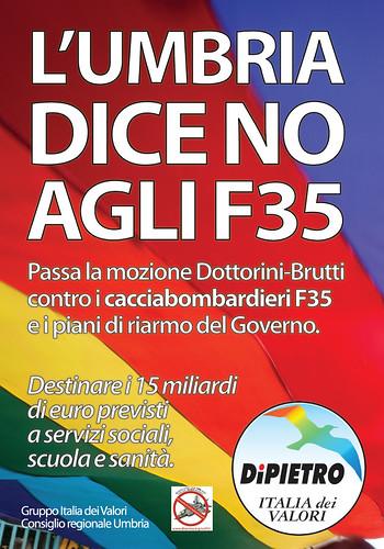 L'UMBRIA DICE NO ALL'ACQUISTO DEI CACCIABOMBARDIERI F35. APPROVATA LA MOZIONE DELL'ITALIA DEI VALORI