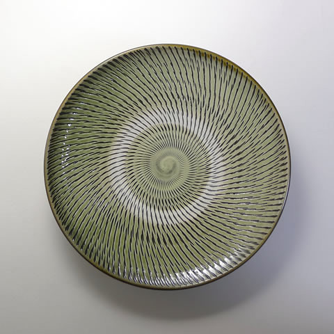 坂本浩二窯 8寸皿/飛びかんな(うす青)