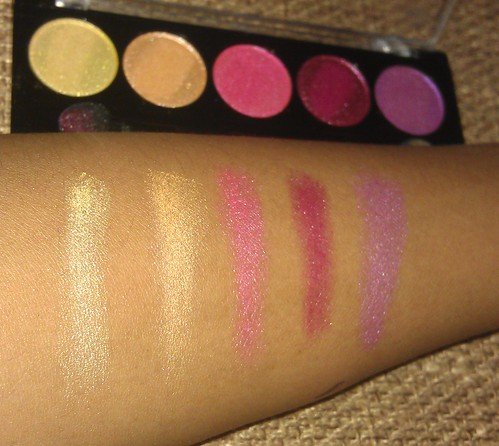 L.A. Colors 5 Metallic Eyeshadow Wildflower palette swatches