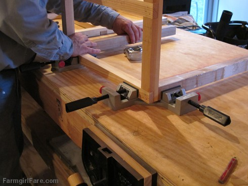 (21) Building a cabinet for the kitchen utility sink on the new workbench - FarmgirlFare.com