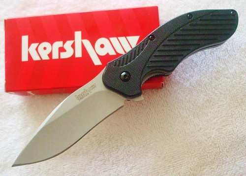 "Kershaw Clash Assisted 3"" Bead-Blast Plain Blade, Polyimide Handles"