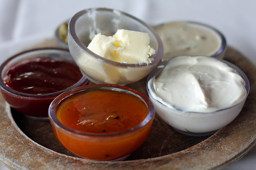 jam and butter and fresh cheese