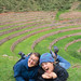 Betsey Elda Guest '02 and Lila Kitaeff '01 at the Moray ruins in the Sacred Valley, on a month-long trip to Peru they planned as Macalester roommates.