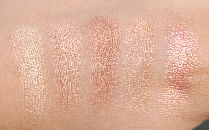 sleek makeup peach shimmer glo face & body highlighter swatch1
