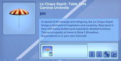 Le Cirque Esprit- Table Tent Carnival Umbrella