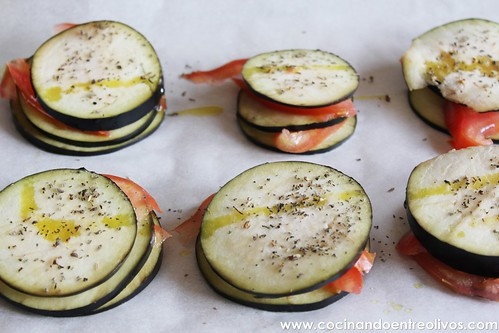 Milhojas de berenjena, tomate y queso Prodieta (8)
