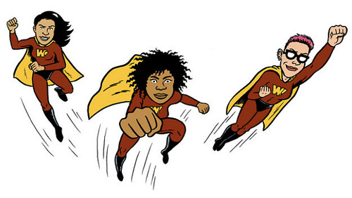 drawing of three WAM! superheroes to the rescue!