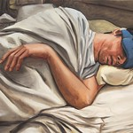 Sleeper with Blue Mask; oil on canvas, 24 x 36 in, 2015