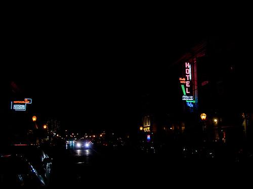 street ri sign bar night hotel colorful neon rhodeisland signage arrow multicolored projectneon