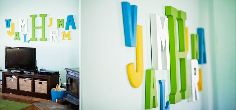 letter collage in living room