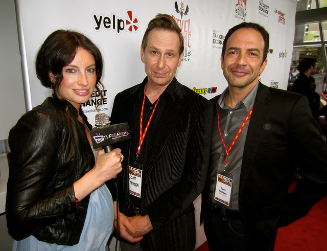 Samantha Gutstadt, Scott Thompson, Dave Pullano, LA Comedy Shorts Commie Award Recipient
