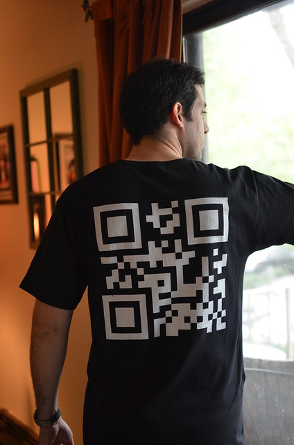 Custom qr code t shirt vista print black custom t shirt for Vista t shirt printing