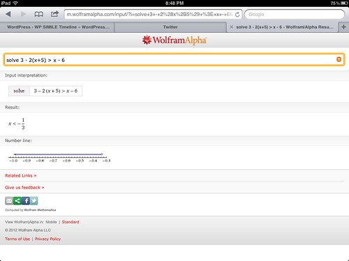 Solving an Algebraic inequality with WolframAlpha